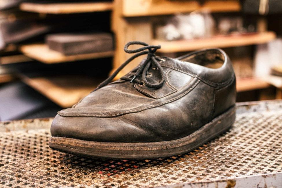 Schuhreparatur Leder vorher